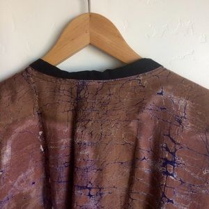 Jackets & Coats - Tie Dye Jacket Brown Blue Metal Buttons Large
